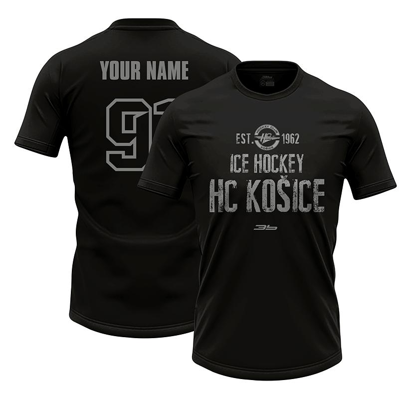 Dámske čierne tričko HC Košice so sivým nápisom 22007