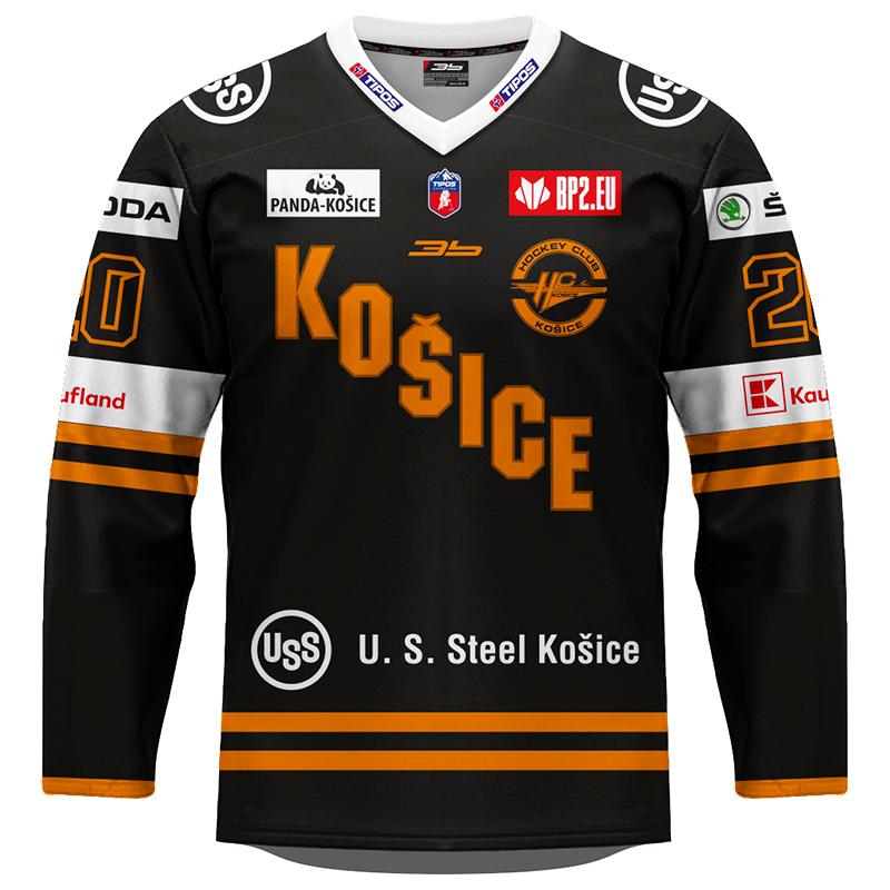 Dres HC Košice REPLICA čierny 2020/2021 s reklamou 11004