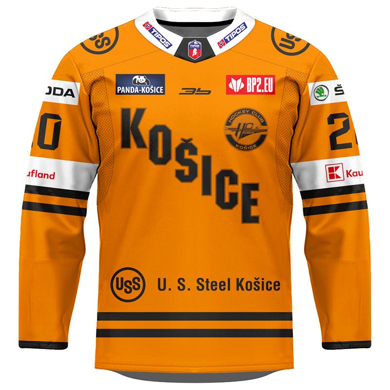 Dres HC Košice AUTHENTIC oranžový 2020/2021 s logami partnerov 11006