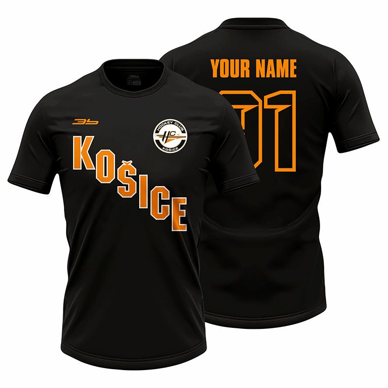 Pánske čierne tričko HC Košice s nápisom Košice 21002
