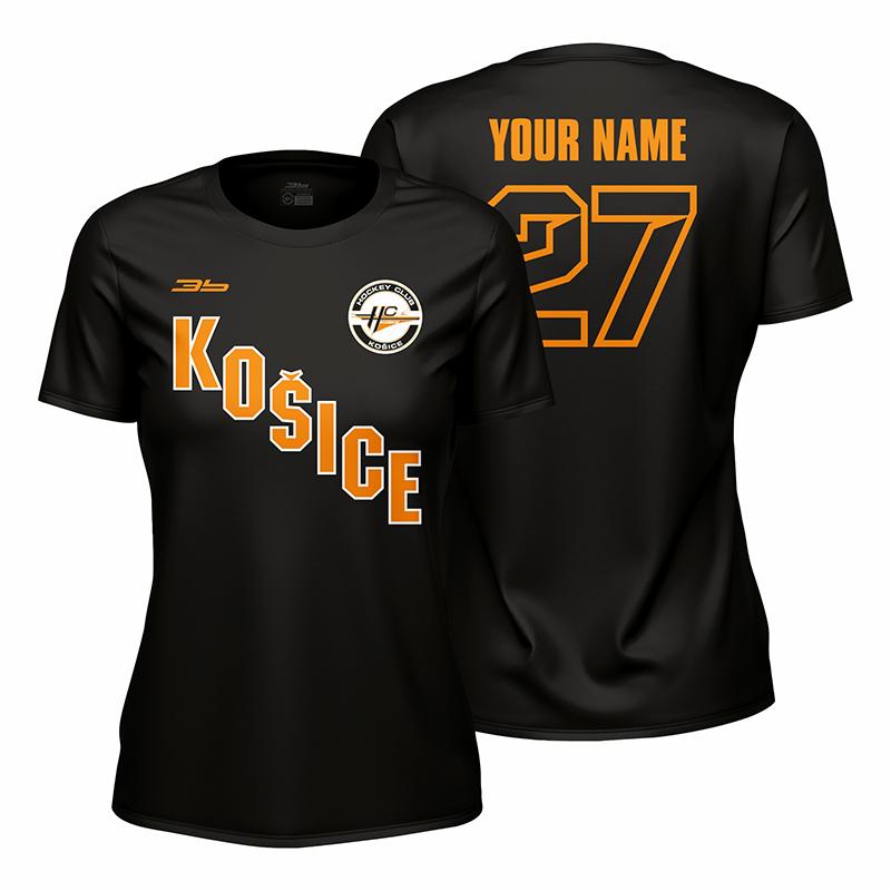 Dámske čierne tričko HC Košice s nápisom Košice 22004